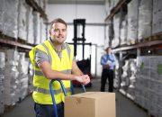 Warehouse Worker Using a Hand Truck